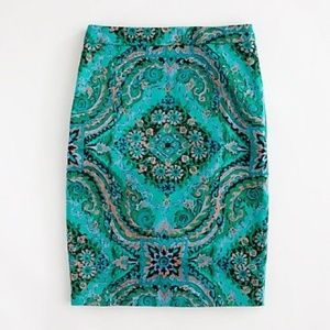 J CREW Printed Pencil Skirt In Sateen Dot factory